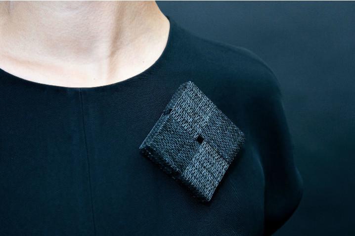 Jess Tolbert3 Brooch, 2019 Fused steel staples,  14K gold pin wire