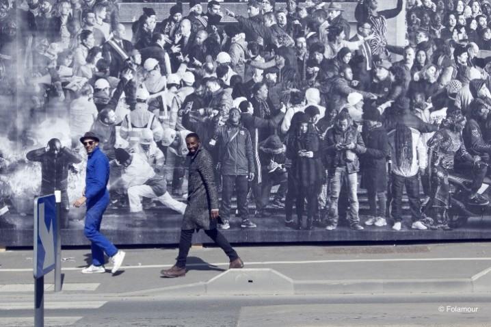JR et ladj Ly devant fresque Montfermeil