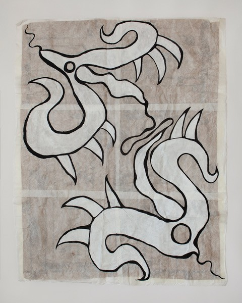 Joana Kohen –Copulation, 107x136cm, Acrylic on Handmade Japanese Washi Paper