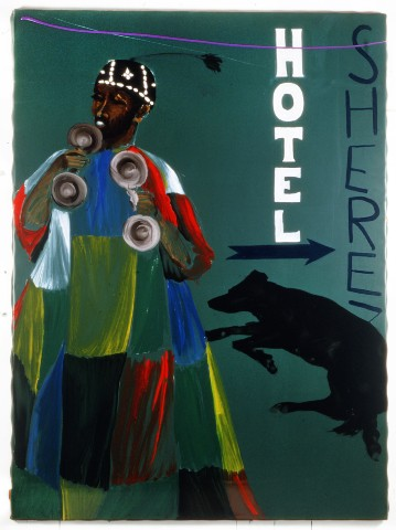Aldo Mondino, 2000, _Hotel Sherez_, t.mista su linoleum, 240x190 cm