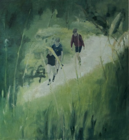 Giuseppe Biagi, 2021, _Verso il rifugio_, olio su tela 100x100 cm
