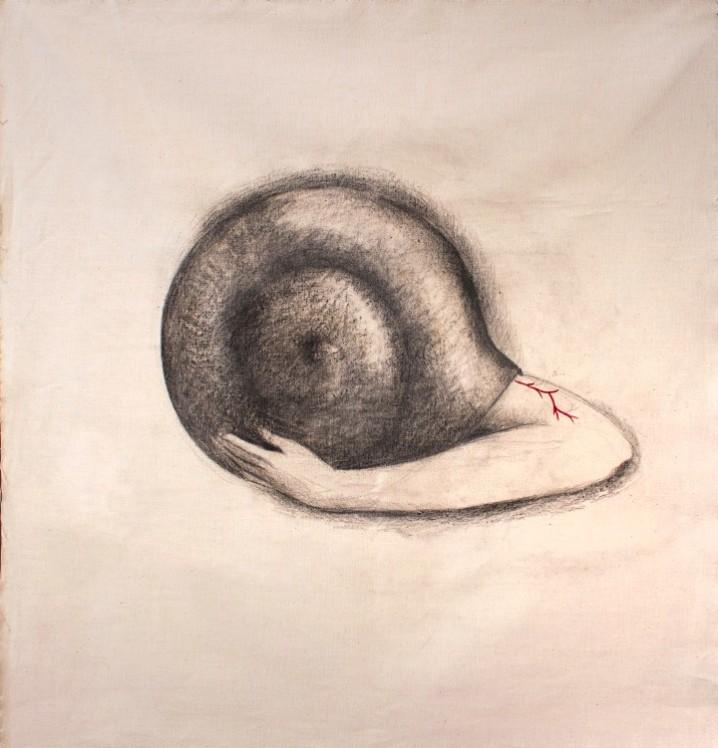 Lucy Jochamowitz _Casa Fragil_ 2021 53x56 cm t. mista su lino