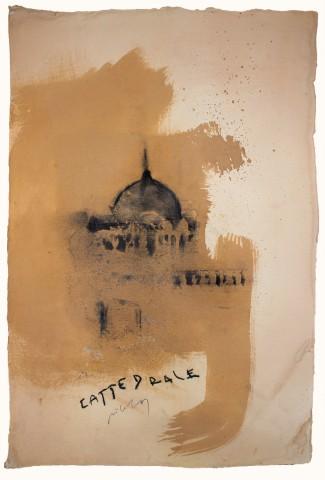 Pizzi Cannella, Cattedrale, t.mista su carta, 57x38 cm