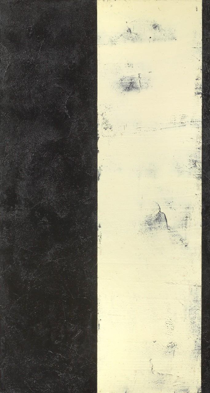 Ingebor Luscher Senza titolo 1991 zolfo colla ceneri e acrilico su juta tesa su tavola cm 215x115,5