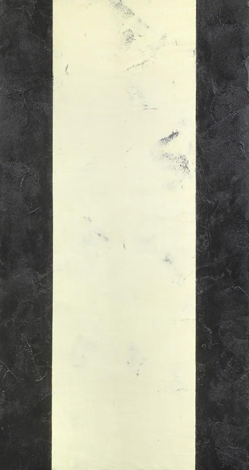 Ingebor Luscher Senza titolo 1992 zolfo colla ceneri e acrilico su juta tesa su tavola cm 215x115,5